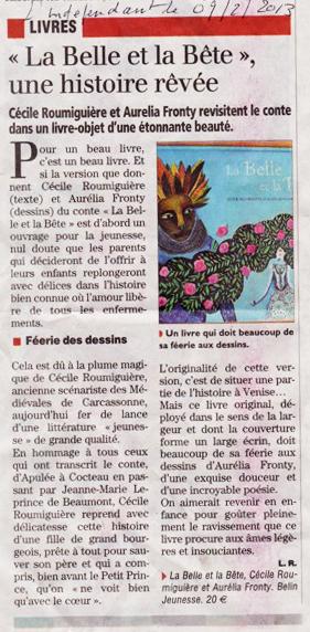 La Belle et la Bête dans l'Indépendant, 9 déc. 2013