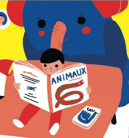 Un éléphant et des livres