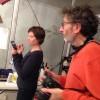 Notre invitée : Ingrid Thobois, ici façon Mary Poppins, avec Jacques, notre photographe.