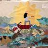 Collage de tissus sur Le fil de soie par les CP de Voltaire